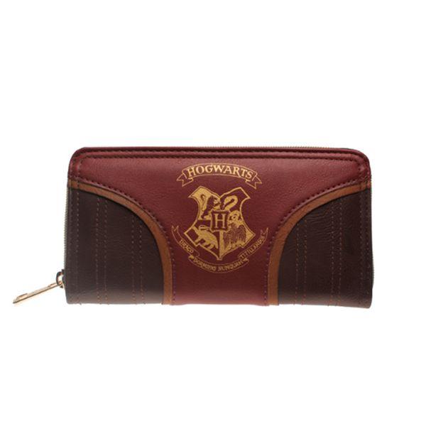 Monedero dorado de Hogwarts de Harry Potter Zip Up Cartera de cuero de PU Cartera larga para mujer Bolso híbrido de Harry Potter