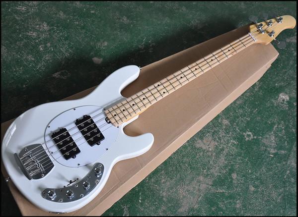 4 corde basse Bianco elettrico con 2 Black Pickup, Bianco Battipenna, Acero Manico di chitarra, può essere personalizzato come richiesto