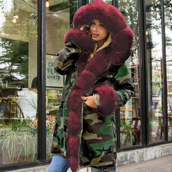 parkas winter outdoor women hooded coat slim camouflage warm daily office casual outwear shopping faux fur thicken