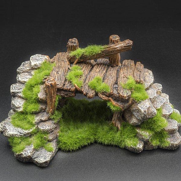 Aquarium Fish Tank Mini Rocaille Aménagement paysager Ornement poisson résine Moss Pont Jouer Décor Cave pour aquarium