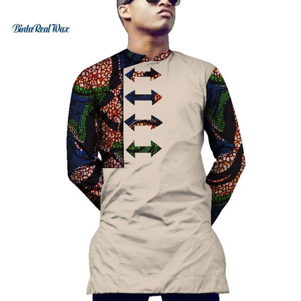 Casual Mens Shirt Vêtements africains Dashiki Imprimer Arrow Chemise À Motif Hauts Bazin Riche Vêtements Africains Traditionnels WYN551
