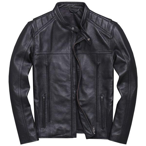 2019 Black Men Slim Fit Motorcycle Leather Jacket Plus Size XXXXXL autentico cappotto di pelle bovina Autunno russo Biker FREE SHIPPING