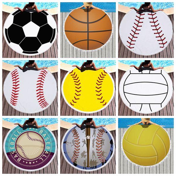 Baseball Basketball Softabll Sports Football Serviette de plage avec Tassel ronde Serviettes de plage unisexe Summer Beach Tapis 27 couleurs MMA1567-6
