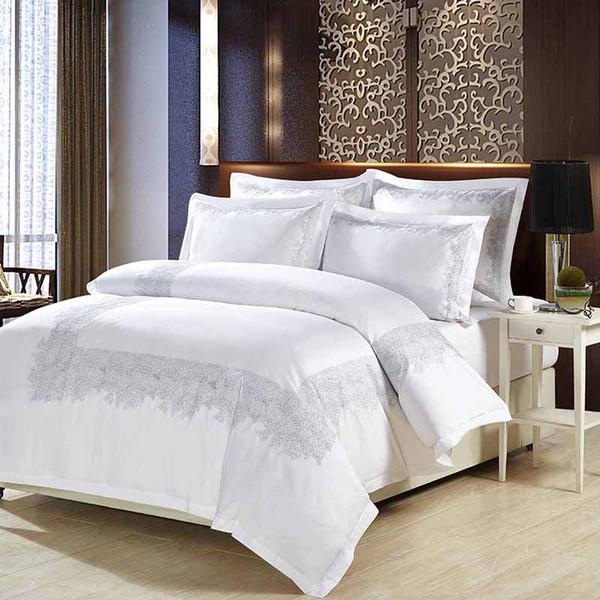 Luxo cama 100% algodão bordado casa estabelecidos cetim branco conjuntos de capa de edredão estilo vintage roupas de cama roupa de cama orientais