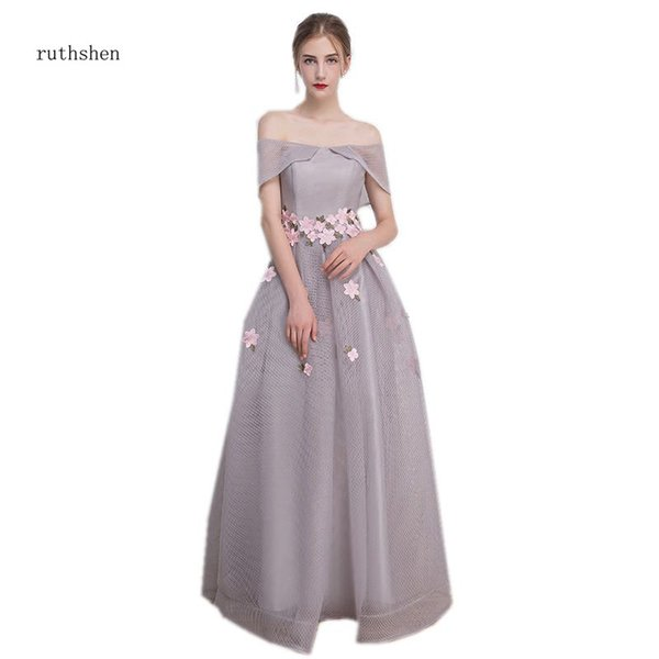 wholesale 2018 Long Prom Dresses Simple A-line Evening Party Gowns Grey Color Special Occasion Formal Dress Off The Shoulder