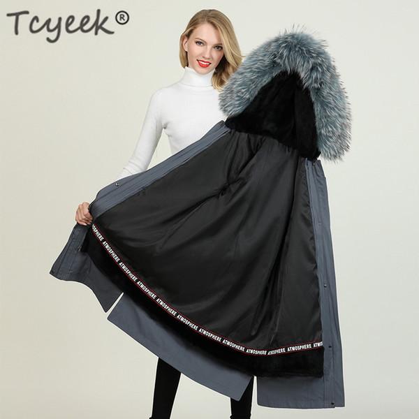 Giacca Tcyeek inverno donne cappotto naturale pelliccia di procione con cappuccio Real Rex Liner parka spesso strato caldo Femminile lungo Outwear 918-0