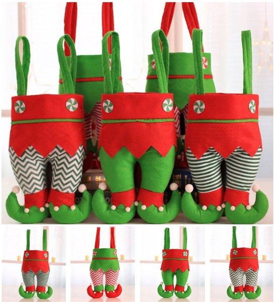 Sıcak stil Elf Çorap Noel Süsleri Süsleme Noel Şeker Çanta Festivali Parti Aksesuar Hediyeleri çanta Yılbaşı Süslemeleri T5I019