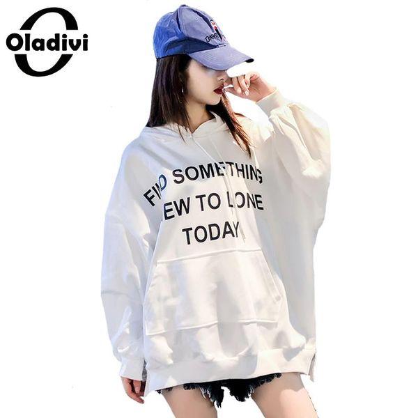 Acheter Oladivi Marque Plus Taille Femmes Lettre Imprimer Sweat À Capuche Femme Casual Chemise Lâche Chemises À Capuche Top Tunique Vestidio Blusa