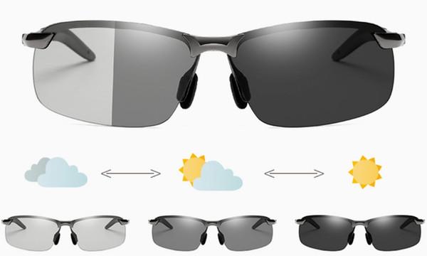 2019 nuevos de la llegada hombres inteligentes que cambian de color gafas de sol polarizadas de luz para la conducción de Pesca de visión nocturna gafas de sol multicolor con Shippi libre