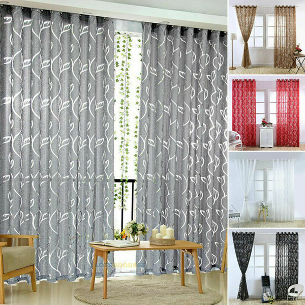 2020 Vines Leaves Modern Window Sheer Curtain Panels For Living