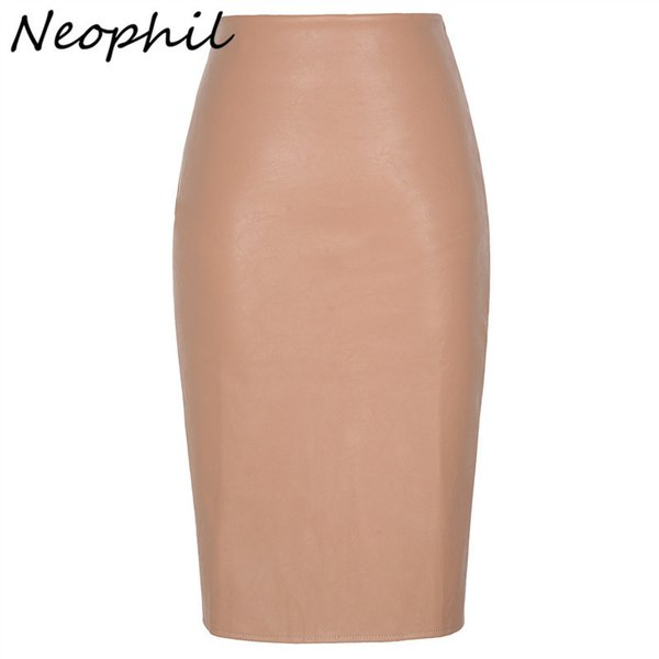 Neophil 2019 Sexy Faux Fur Leather Pu Midi Women Pencil Skirts High Waist Black Ladies Office Wrap Stretch Jupe Femme Saia S1102 J190628