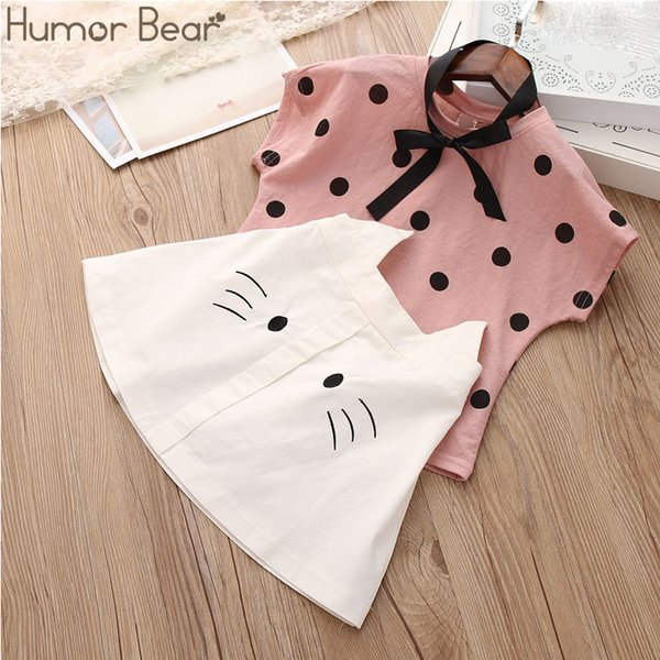 Humor Bear Baby Summer New Clothing Fashion Bow Tie Dot T-shirt +cat Umbrella Skirt Children's Suit Cartoon Dress Clothes Set Y190522