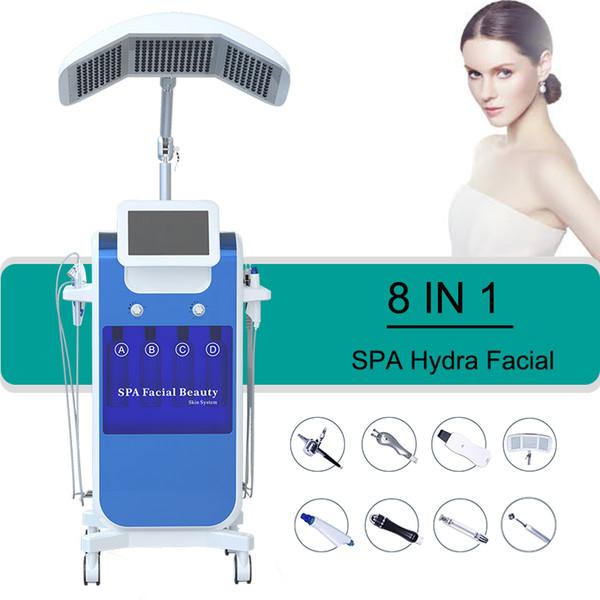 8 en 1 Hydra Facial Machine RF rejuvenecimiento de la piel Microdermabrasión Hydro Dermabrasion Bio-lifting eliminación de arrugas hidrafacial Spa Machine