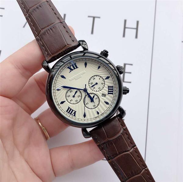 mens lusso orologi di marca superiore di marca cronometro Cinturino in pelle quadrante 42 millimetri orologio da polso al quarzo genuino per regalo di San Valentino per uomo Reloj de lu