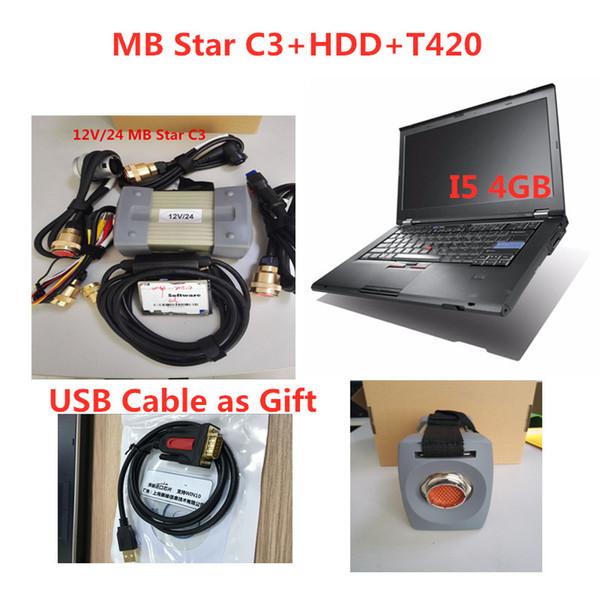 MB Yıldız C3 SD Bağlantı mb c3 2015.07 Sürüm Softare ve T420 Dizüstü Teşhis Tarayıcı ile 12V 24V araba ve kamyonları destekliyor