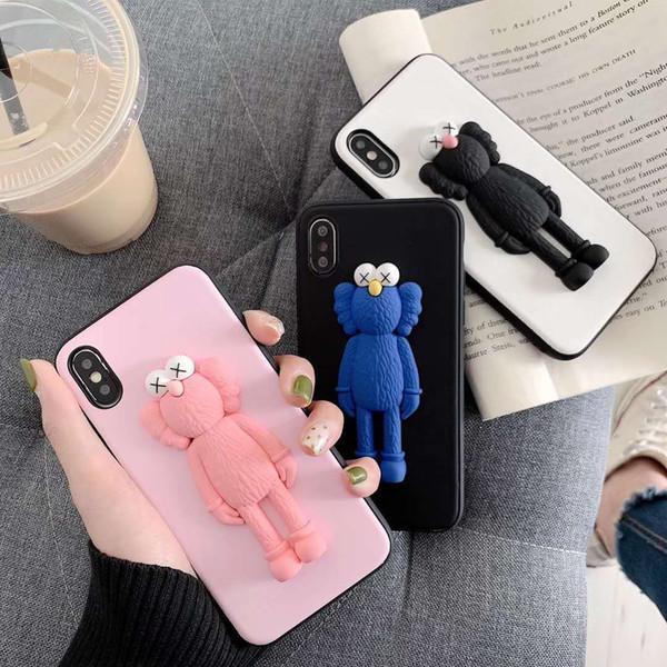 GOOD 3D Fashion Cartoon Sesame Street Case for iPhone X XR XS MAX 8 7 6 6S plus Cute KAWS Doll Scrub Soft Silicone TPU Cover Coque