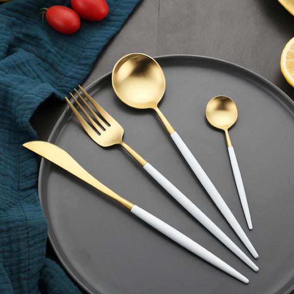 Portugal talheres faca e garfo colher 304 ocidentais utensílios de mesa de aço inoxidável punho Branco golden pointed tail talheres 5 conjuntos h128