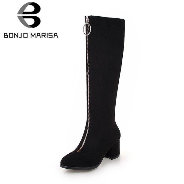 BONJOMARISA 2019 Spring New Brand Women Zipper Knee High Boots Ladies Plus Size 34-45 Black High Wide Heels Shoes Woman