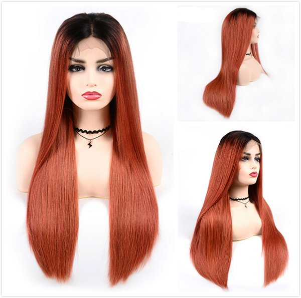 Long Straight Braided Lace Front Wigs T1B/350 Ombre Human Hair Glueless Wig For Black Women Cheap Colored Orange Malaysian Full Lace Wig