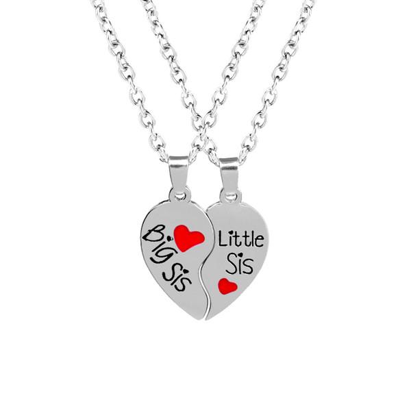 Big Sis Little Sis Amor Coração Colar Coração Quebrado Melhor Irmã Colar de Pingente de jóias para As Mulheres Caçoa o Presente de Natal 162119