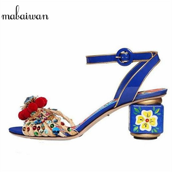 Mabaiwan Fashion Blue Flower Print Gladiator Sandals Designer Women Pumps Handmade High Heels Wedding Shoes Woman Pom Pom Sandal
