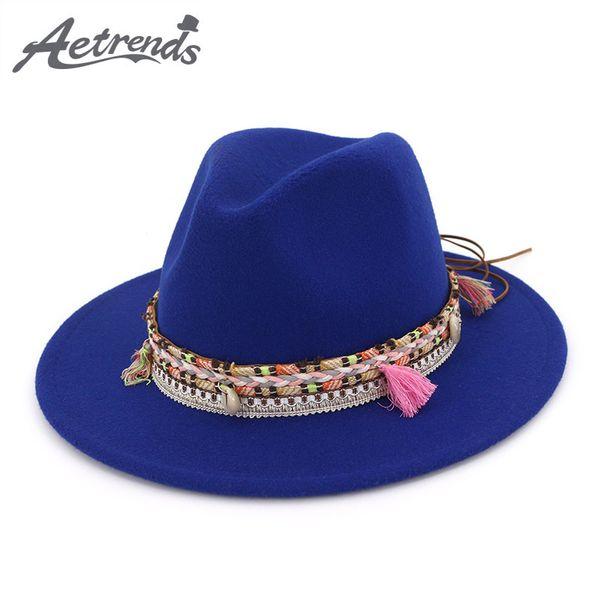b4a2d0af35c  AETRENDS  2019 New Autumn Winter Women Wide Brim Hat Jazz Fedoras Ladies  Bohemia Fedora Caps sombrero chapeu feminino Z-6754
