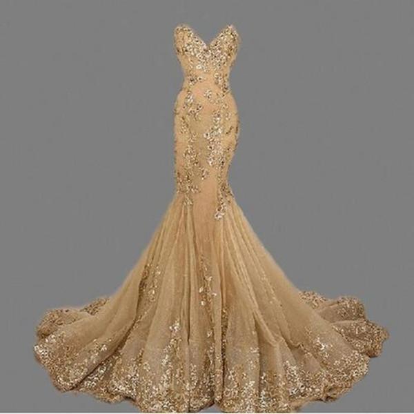Robe de soiree Goldnixe-Abendkleid vestido de festa Nach Maß Schatz-Nixe-lange Abendkleider reizvolle Braut