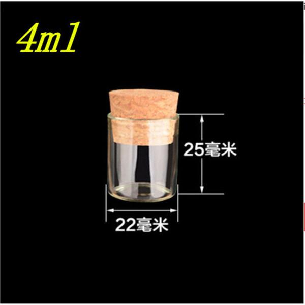 22 * 25 мм 4 мл Маленькие стеклянные флаконы с пробкой Пробка пустого стекла Прозрачные прозрачные бутылки 100 шт. / Лот