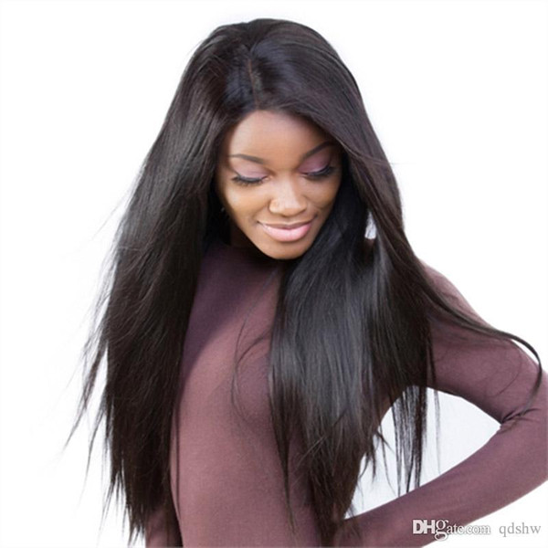 Full Lace Wig Silk Base For Black Women Natural Straight Virgin Glueless Silk Top Human Hair Lace Front Wigs Peruvian Pre Plucked