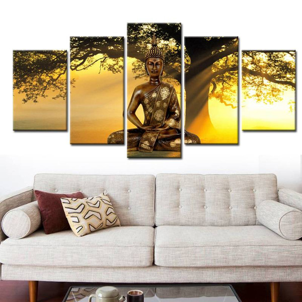 Modern Landscape Canvas Print Modern Fashion Wall Art the Buddha Trees in the Setting Sun for Home Decoration No Frame