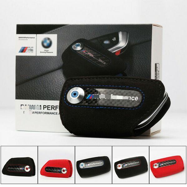 Yeni M performans Karbon Fiber Araba Deri BMW Için Anahtar Durumda Fob Tutucu Çantası
