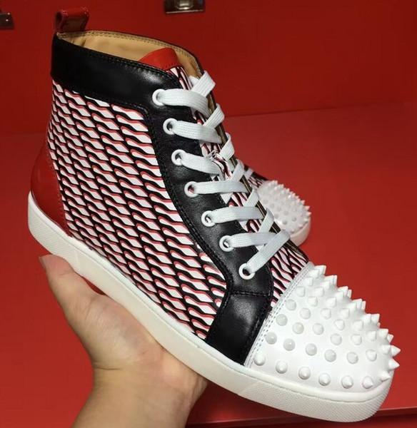 Ucuz Tasarımcı Erkek Kadın Sneaker Rahat Ayakkabılar kırmızı kauçuk taban Gerçek Deri Sneaker Cilt Kaykay Ayakkabı Kadife Sneakers 35-46