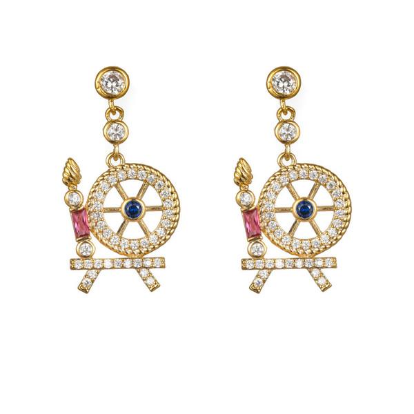 Lady personality cute earrings sleeping castle fairy tale color girl heart earrings simple wild silver needle hypoallergenic earrings