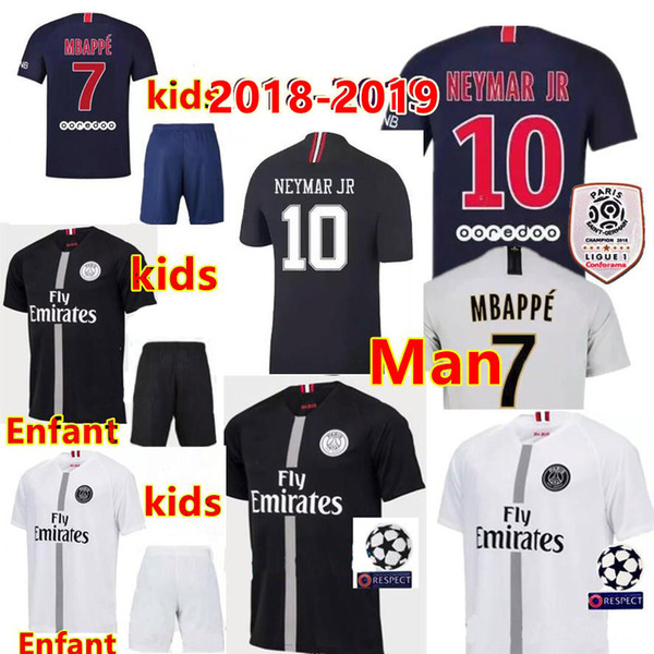 Thai maillots PSG soccer jersey 2019 Man Woman kids maillot de foot psg 3rd third MBAPPE CAVANI jerseys 18 19 Paris Maillots de football