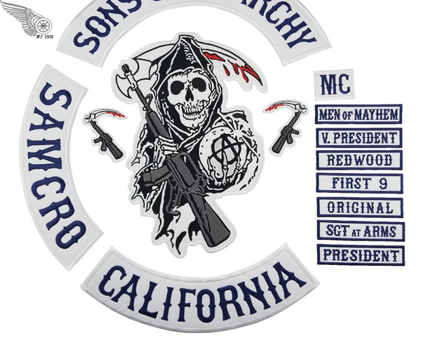best selling 2018 Original Embroidery Son Of Anarchy Patches Full Back For Motorcycle Rider Biker Jacket Vest Iron on 14 pcs Patch MC1931 Brand