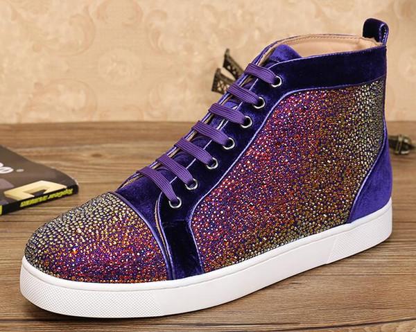 expédition nouvelle casual en gros de haute qualité strass baskets chaussures de luxe chaussures de sport pour hommes haut top bas de baskets, extérieur plat Z24