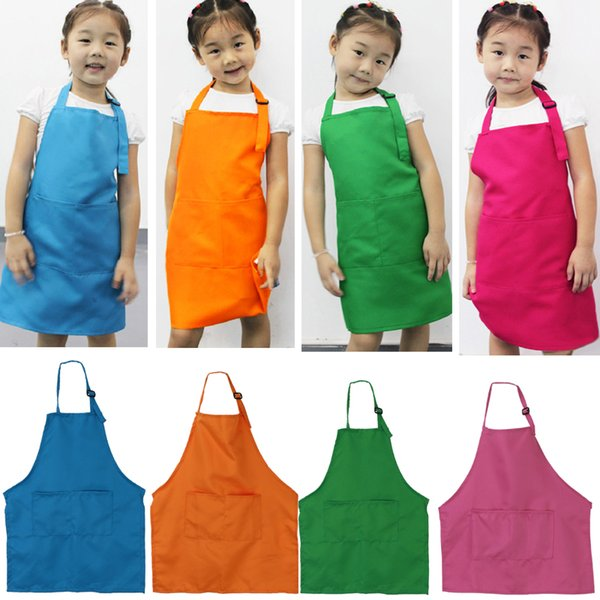 top popular Cute Children Plain Apron Kids Kitchen Cooking Accessory Candy Color Child Baking Apron Baby Painting Bib 2020
