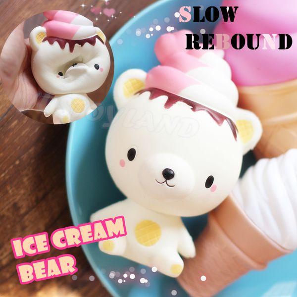 13cm Cute Jumbo Slow Rising Squishy Phone Straps Rilakkuma Ice Cream Bear Cartoon Pendant Cream Scented Bread Kids Fun Toy Gift