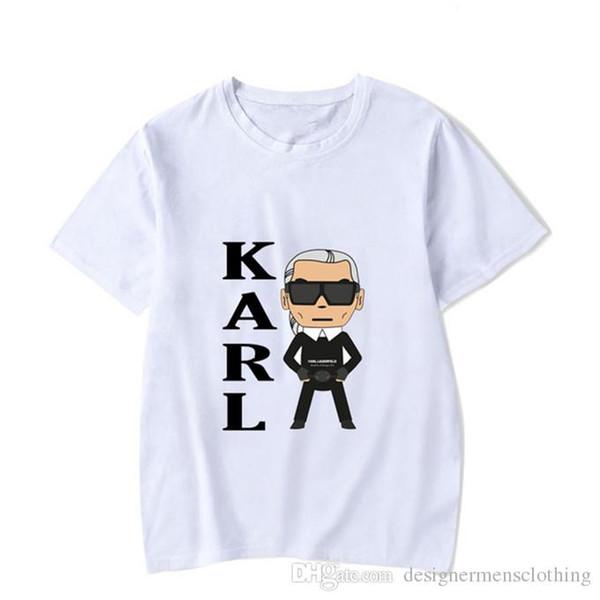 Designer de Rock Karl Impressão Casual Homens Camisetas Adolescente Manga Curta O Pescoço Lagerfeld Moda Tops Hot
