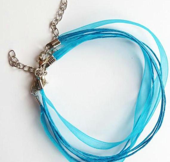 100pcs/lot Hot ! TURQUOISE BLUE Ribbon Voile Necklace Cord DIY jewelry craft 460mm