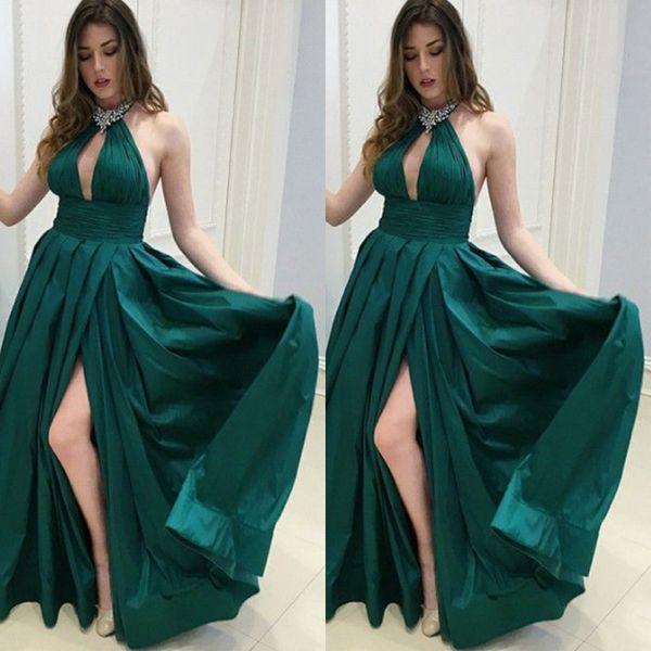 Compre 2019 Halter Sexy Vestidos De Noche De Color Verde Oscuro Con Cuentas Una Línea De Satén Vestidos De Fiesta De Graduación Con Abertura A 11556