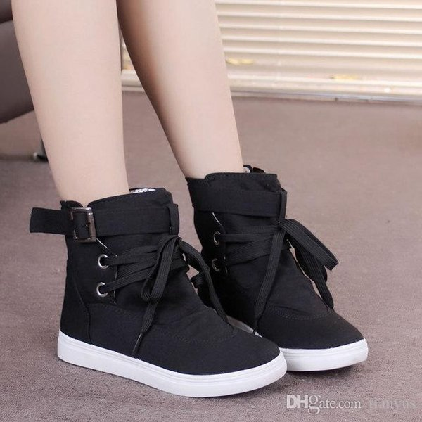 8f9cc9ff9e94c Woman Ankle Boots Shoes High-top Canvas Women's Boots Round Toe Lace Up  Walking Flats Girl Snow Boots L-108