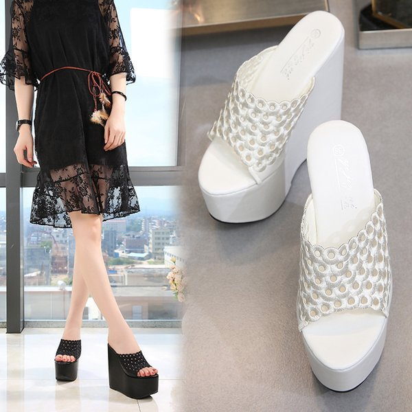 2019 new fashion super high women's slippers Korean sexy 15 cm wedges breathable slippers nightclub catwalk high-heeled