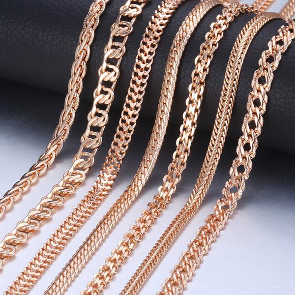 Personalizar Colar Para As Mulheres Homens 585 Rose Gold Venitian Curb Caracol Foxtail Cadeias de Ligação Colar de Jóias de Moda 50 cm