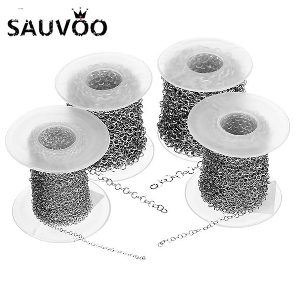 wholesale 10 Yard/lot Stainless Steel Round Mesh Chain 2mm 3mm 4mm 5mm Silver Tone O Link Rolo Chain for DIY Jewelry Making Finding