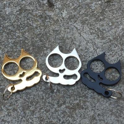 top popular Mini iron cat head self-defense keychain Cat head double finger keychain Car emergency window breaker easy escape keychain 2020