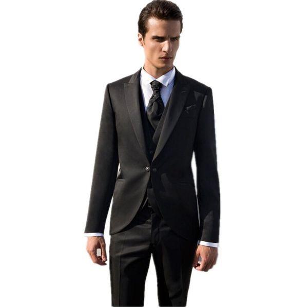 New Arrival Groom Tuxedos Black Groomsmen Peak Lapel Best Man Suit Wedding/Men Suits Bridegroom ( Jacket+Pants+Vest+Tie ) A284