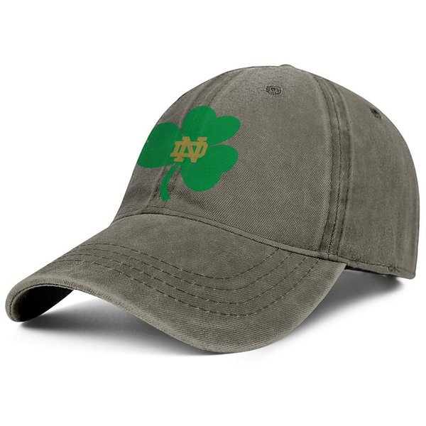Notre Dame Fighting Irish brown mens and womens Denim hat wash ball hat styles custom Adjustable Messy Dad caps