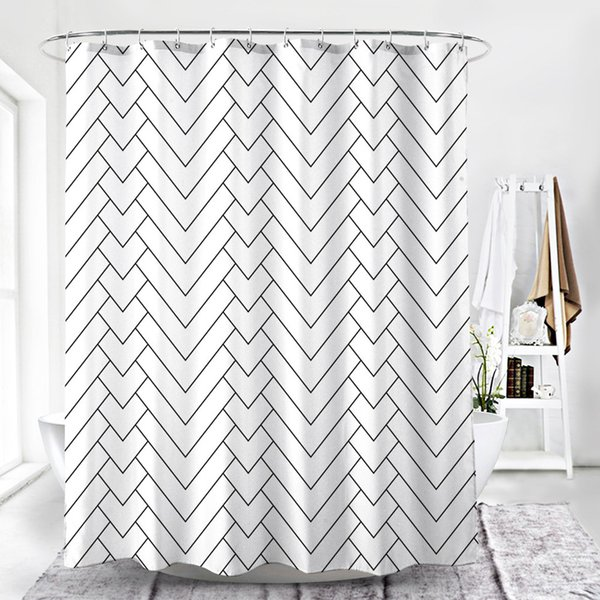 2019 NEW ARRIVAL Hotel Quality White Striped Water-Repellent Mold Resistant Fabric Shower Curtain