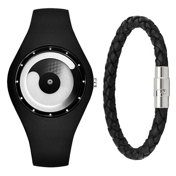 Leisure Time Originality Time Concept Time Silica Gel Electronics Wrist Watch + Bracelet ( 2pcs/set)